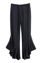 Silk-blend flounced trousers - Dark blue -  | H&M CA 2
